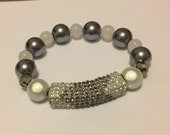 Glittery Bar Bangle With Pearlized and Iridescent Beads. Grey and White. Fits Most Wrists.