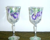 Hand Painted Crystal Wine Glasses Purple Flowers Wedding Decor Bridal Shower Gift Painting Upcycled Bride and Groom Toast