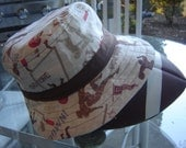 Men Fisherman Hat, Bucket Hat, Football fabric, Brown and Tan - CathysCaps