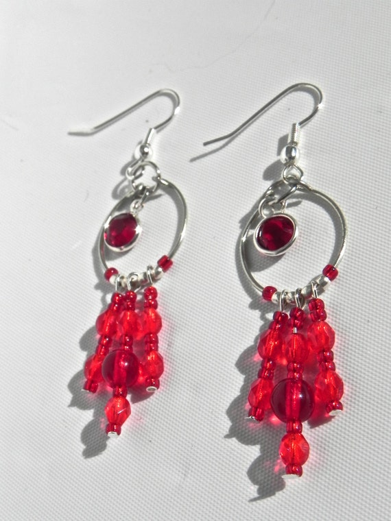 Wire Wrapped Red Gem and Beaded Dangle Earrings