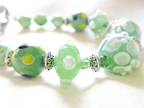 Sea Green Glass Lampwork Bracelet w silver accent beads and toggle clasp