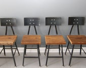 "Set of 4 -18""H Reclaimed Wood Industrial Bar Stool w/ Steel Back - FREE SHIPPING - Industrial Modern - Salvaged Wood - DendroCo"