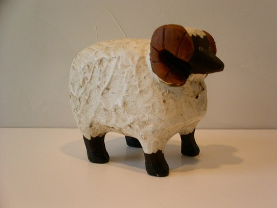 Fine Handcrafted Carved Ram with Curly Horns and Wool.