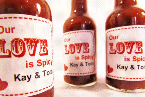 Our Love is... Custom Wedding Favor with your choice of Hot Sauce, BBQ Sauce, Glazes and more