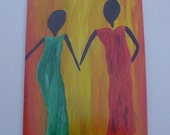 Sister's Helping Hand - Ethnic Blank Art Greeting Card