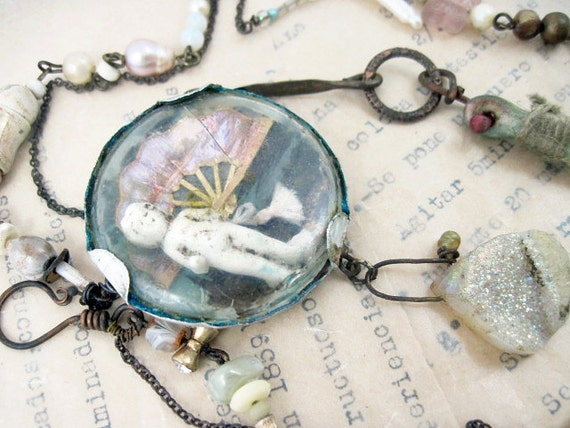 Before Dear Mother Died. Rustic Victorian frozen charlotte collage found object druzy assemblage necklace.