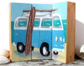 VW bus original painting, surf art on wood blocks- beach decor by Cathie Carlson