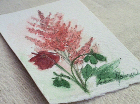 Garden Nature Art Astilbe Geranium Watercolor Original Painting by Laurie Rohner