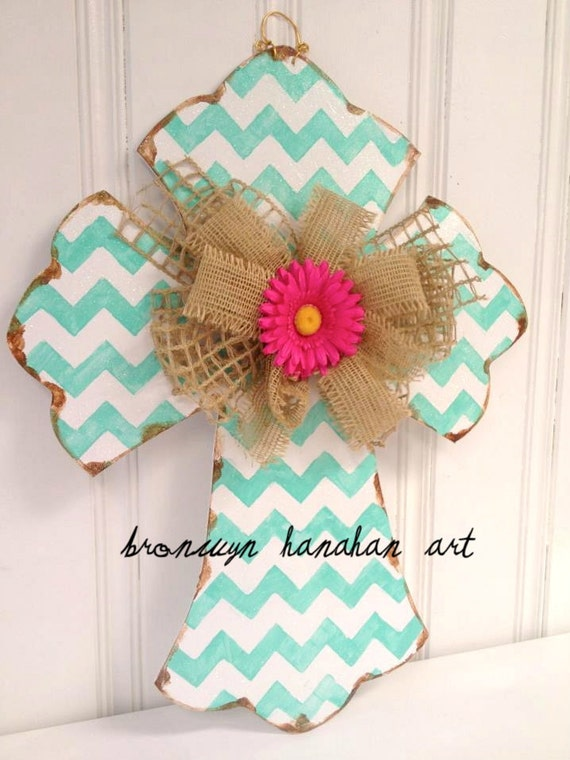 Aqua Chevron Cross - Bronwyn Hanahan Art