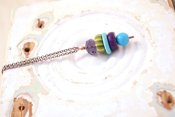 Sparkling Modern Art Jewelry Necklace- Purple Crystal, Olive and Purple Gypsy Trade Beads Pendant on Copper Chain