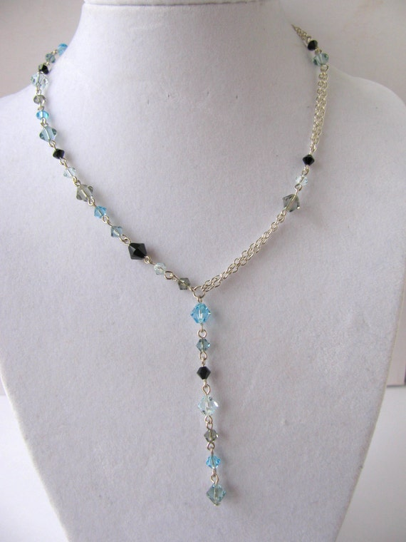Colors of the Sea Blue Swarovski Asymmetrical Y-necklace FREE SHIPPING