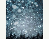 boxingdaysale,  25% OFF,  Winter, Wall Decor, Fine Art Photography, navy blue, White snow, gray, trees 5x7 print - Raceytay