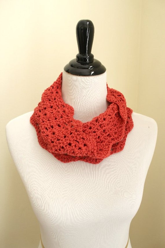 Scallops and Lace Infinity Cowl in coral