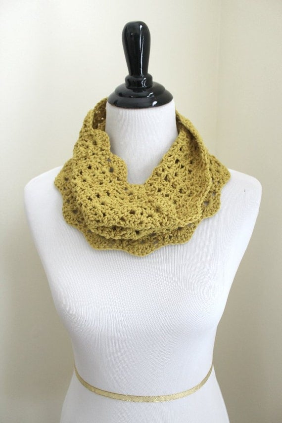 Scallops and Lace Infinity Cowl in mustard