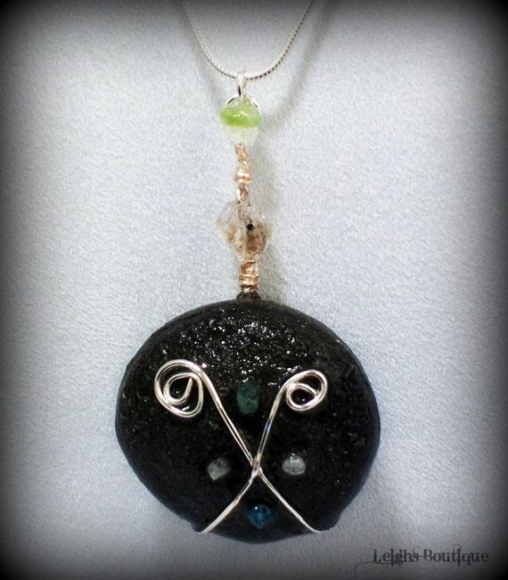 Elemental Diamond, Shaman Kansas Boji Power Stone Necklace, Sterling Silver