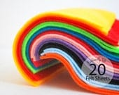 20 Felt Sheets Ecofriendly Felt - 10 color selection 6 x 6 sheets A604