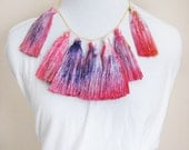 Red space - hand dyed tassel necklace/murMur