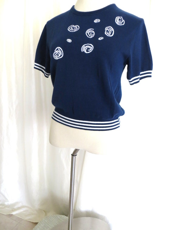 Vintage womens 70s sweater blouse nautical navy white M L