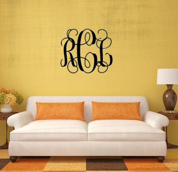 Large Vinyl Monogram Personalized Vine Decal