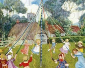 Wonderful Maypole. Loads of Children Dancing.  MAY DAY Vintage Illustration. DIGITAL  Download. Vintage May Day Print. Jessie Wilcox Smith - DandDDigitalDelights
