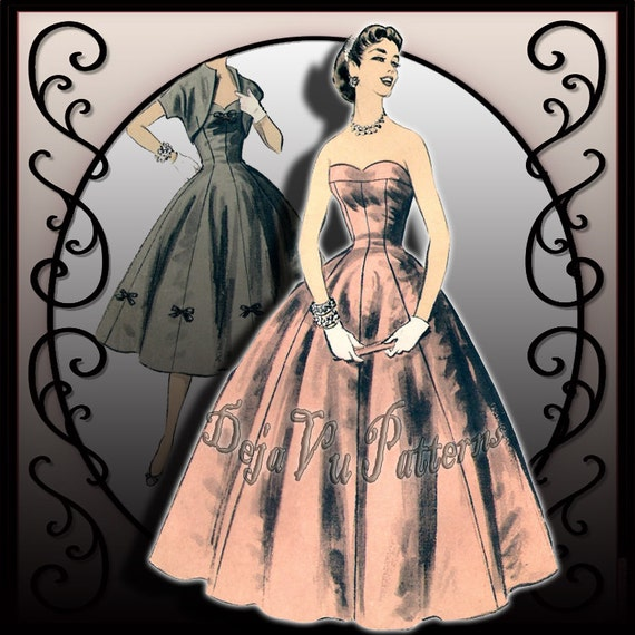 Advance 7704 Vintage 1950s Evening Gown and Day Dress Sewing Pattern Sz 13