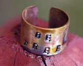 Cuff Ring- Freedom Inspired Copper Rugged Ring Cuff with Colorful Rays