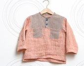 Natural linen toddler boys shirt, Eco friendly, Boho top in coral pink, sandy brown with pockets // size US 1-6 (EU 80-116) - ZanziBach