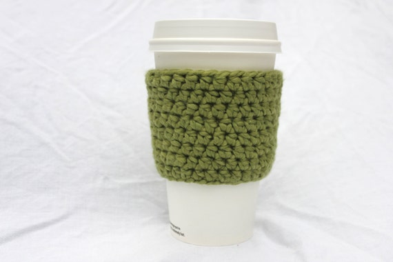 Organic Crochet Cup Sleeve, Organic Crochet Cup Cozy, Organic Cup Cosy - five colors to choose from