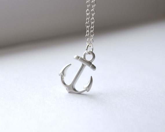Tiny Matte Silver Anchor Charm Necklace - Simple Nautical Everyday Jewelry - Minimal Layering Necklace