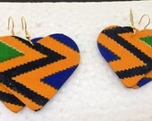 African jewelry fabric covered earrings: kente, heart-shaped