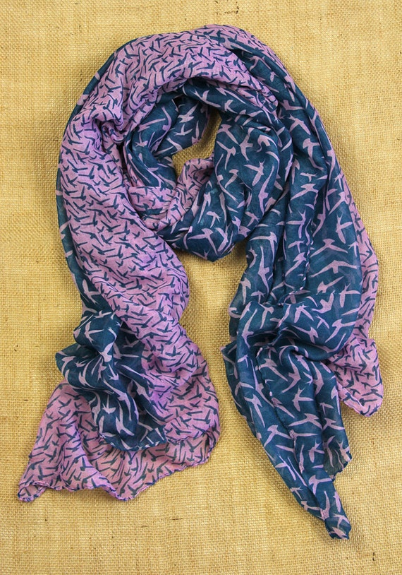 Birdie Flying Bird - Purple & Teal - Printed Fashion Scarf - Free Shipping