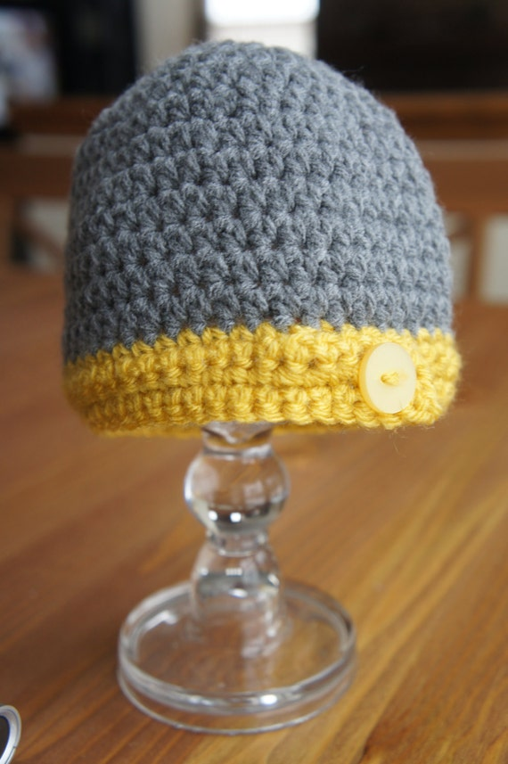 Gray and Gold Button Tab Baby Hat