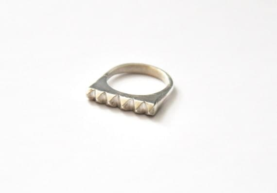 Pyramid Stud Sterling Silver Ring