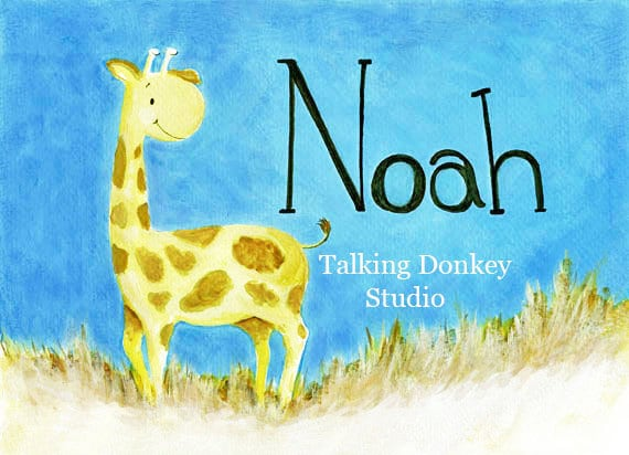 Baby boy nursery decor giraffe boy girl by talkingdonkeystudio