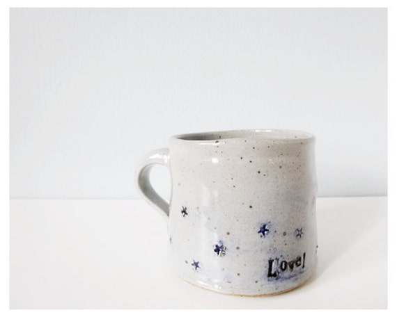 Star cup gray blue - handmade pottery grey ceramic mug - thecupcakekid