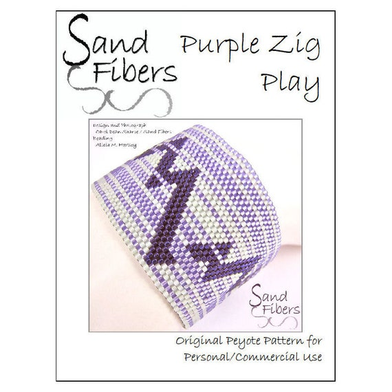 Purple Zig Play Peyote Cuff / Bracelet - A Sand Fibers For Personal/Commercial Use PDF Pattern
