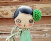 Verde Winter Kokeshi Wood Doll Mixed Media by Danita Art - DanitaArt