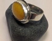 Yellow Jade Sterling Ring