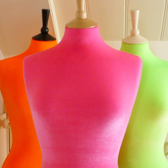 Corset Laced Mannequin Velvet Fluorescent Dressform Bust - Neon Shocking Pink