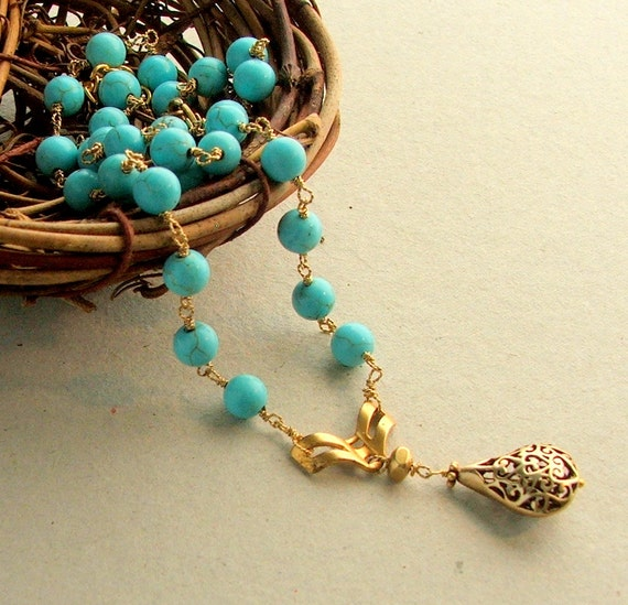 Turquoise Gold Necklace, Hand Wire Wrapped, Turquoise Rosary Style, Boho Necklace, Antique Gold, Gold Pendant, Robins Egg Blue