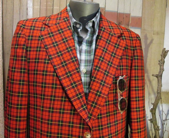 Red Plaid 1970s Jacket  Vintage tartan 70s coat M