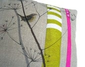 JENNY WREN CUSHION, Linen pillow for nature lovers with cow parsley and wren, dots and stripes - Mogwaii