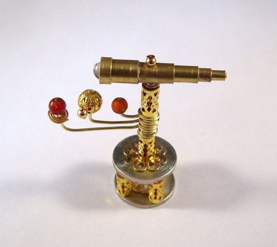 Miniature Medieval Movable Orrery and Telescope