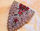 1920s Art Deco Red White Rhinestone Dress Clip - MorningGlorious
