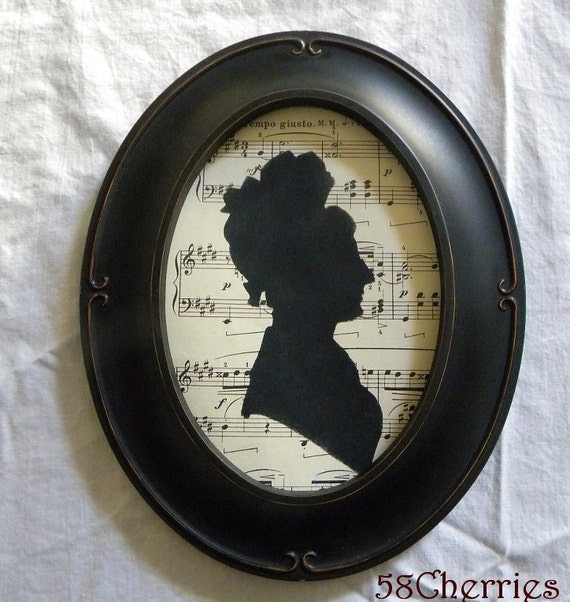 Vintage Style Oval Framed Jane Austen Style Silhouette on Antique Sheet Music - Shabby Chic Downton Abbey Decor