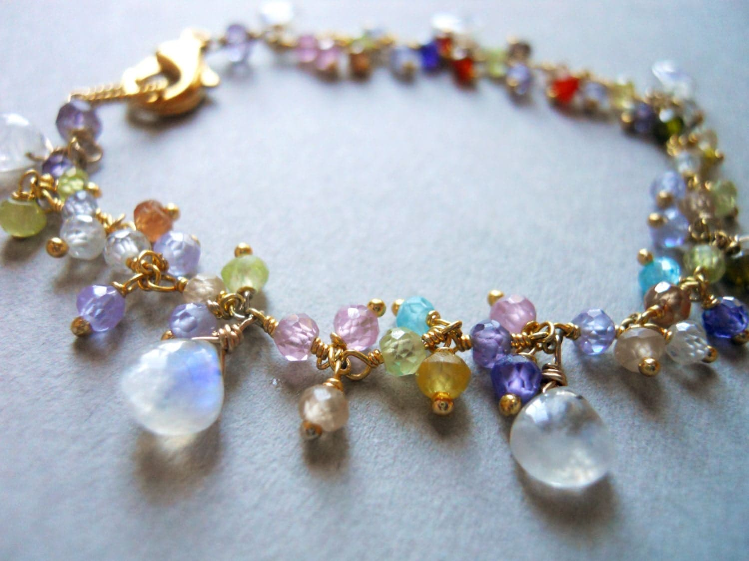 Fiery Moonstone multi gemstone cluster bracelet - $82.00 USD