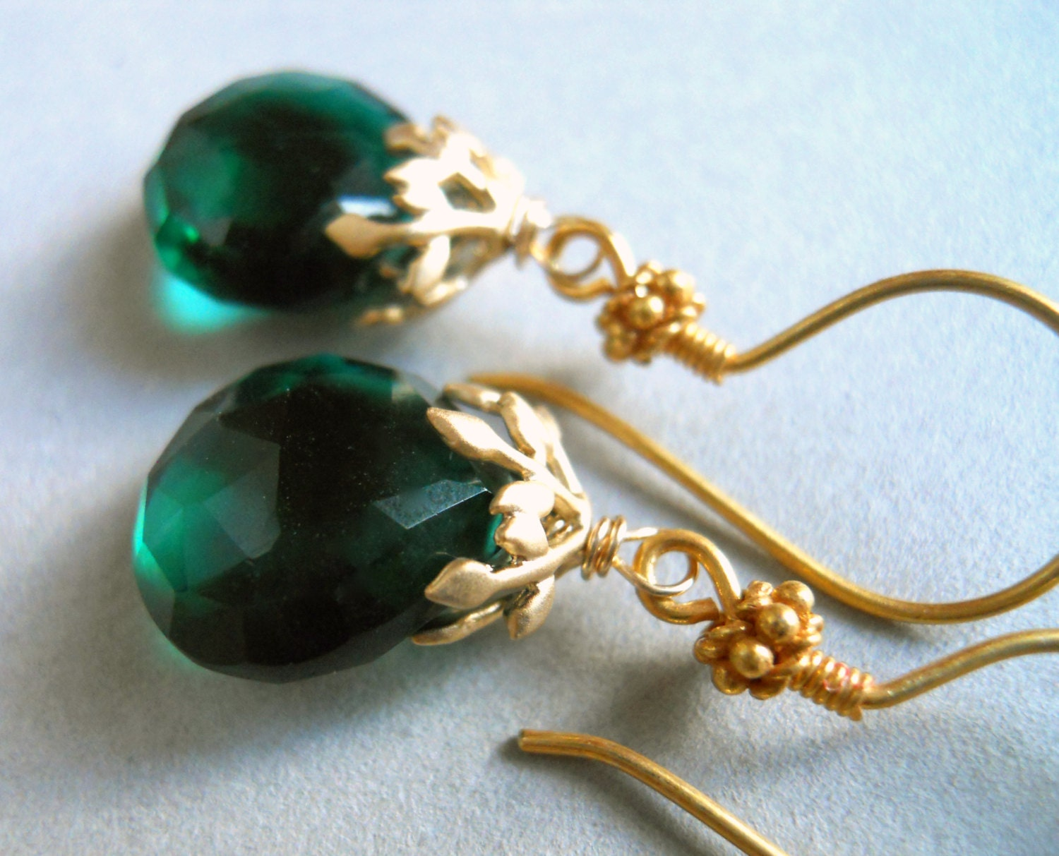 Leafy Green Dark Emerald Green Quartz Drop Earrings / Color of the Year - $36.00 USD