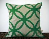 Geometric Kelly Green DECORATIVE PILLOW COVER Mod Home Decor by JillianReneDecor Modern Luxury Gift for Her Emerald Green - JillianReneDecor