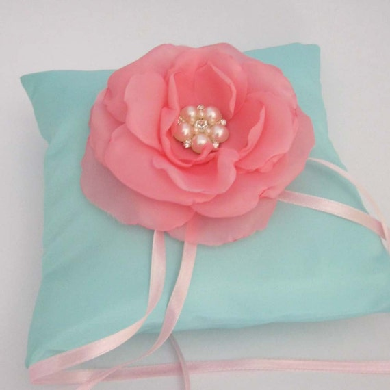 Wedding Ring Pillow, Bearer Pillow in Mint with Pink Rose E163, ceremony accessory