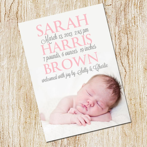 Photo Birth announcement Card - Digital file- Girl's Birth Announcement